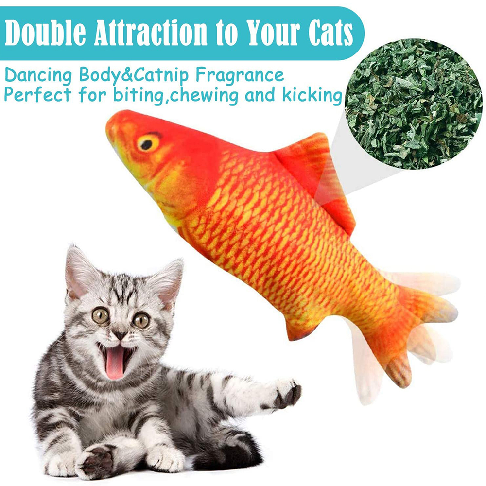 Electric Flopping Fish Moving Cat Kicker Fish Toy Realistic Floppy Fish Wiggle Fish Catnip Toys Plush Interactive Cat Toys 4
