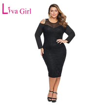 LIVA GIRL Sexy Cold Shoulder Mesh Plus Size Dress for Women Long Sleeve Floral Lace Midi Dresses Big Large Bodycon Vestidos