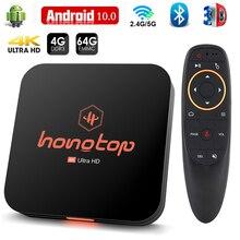 ТВ-приставка Hongtop, Android 10,0, голосовой помощник Google, 4K, 3D, Wi-Fi, 2,4 ГГц и 5,8 ГГц, 4 Гб ОЗУ, 64 ГБ, Bluetooth, Play Store, очень быстрая смарт-приставка