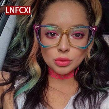 LNFCXI New Cat Eye Rainbow Sunglasses Female Leopard Grain Rice Nail Color Women eye glasses frames for