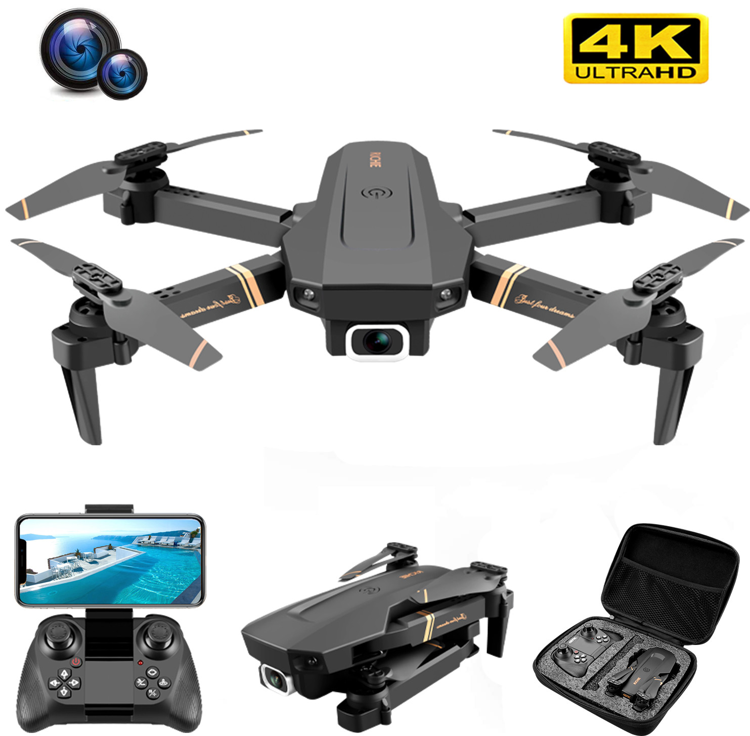 V4 Rc Drone 4k HD Wide Angle Camera 1080P WiFi fpv Drone Dual Camera Quadcopter Real time transmission Helicopter Toys|RC Helicopters| - AliExpress