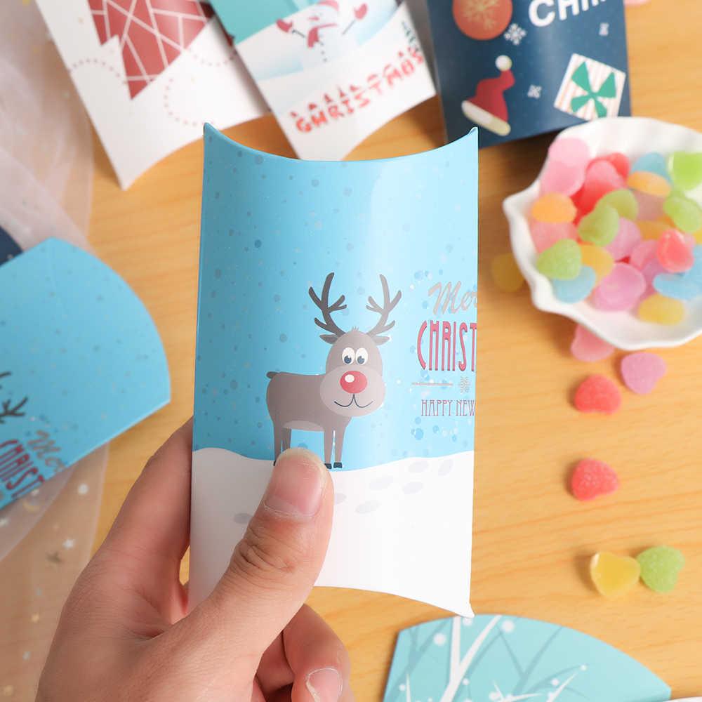 5 piezas nuevas cajas de caramelos de papel de alce de árbol de Navidad bolsa de regalo Kraft caja de forma de almohada bolsa de regalo de Navidad suministros para fiestas