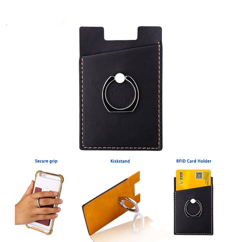 New Mobile Phone Card Holder with Card Pocket Adhesive Sticker Leather Back Card Pocket 2 in 1 Mobile Phone Finger Ring Stand