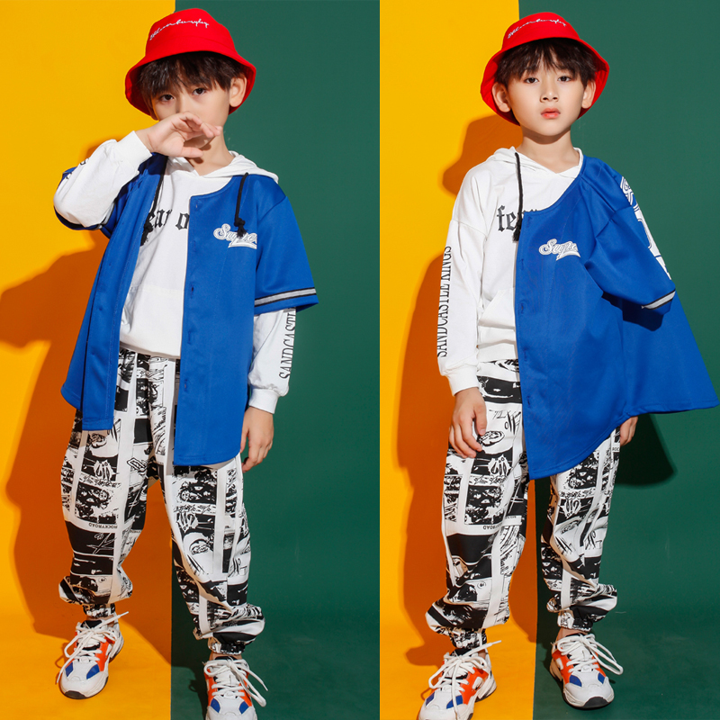 Kids Performance Cool Blue Jacket Coat White Hoodie Top Hip Hop Clothing For Girls Boys Jazz Dance Costume Ballroom Clothes Wear