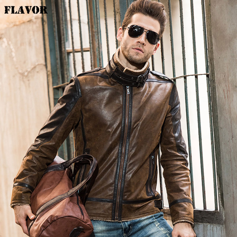 2016 Men's Real Leather Jacket Pigskin Vintage Genuine Leather Jacket Men Double Face Fur Leather Coat Motorcycle Jacket