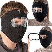 Mascarilla facial antipolvo para ciclismo, máscara transpirable con forro polar y protección facial, gafas antiniebla de alta definición, a prueba de viento
