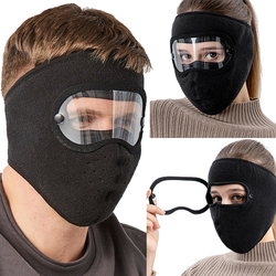 Windproof Anti dust Face Mask Cycling Ski Breathable Masks Fleece Face Shield Hood with High Definition Anti Fog Goggles