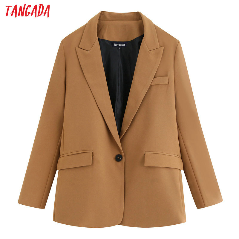 Tangada Korean Style Women Fashion Solid Blazer Pocket Buttons 2019 Atumn Winter Office Lady Work Blazer Suit Outwear BE677