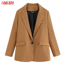 Tangada korean style women fashion solid blazer pocket buttons 2019 atumn winter