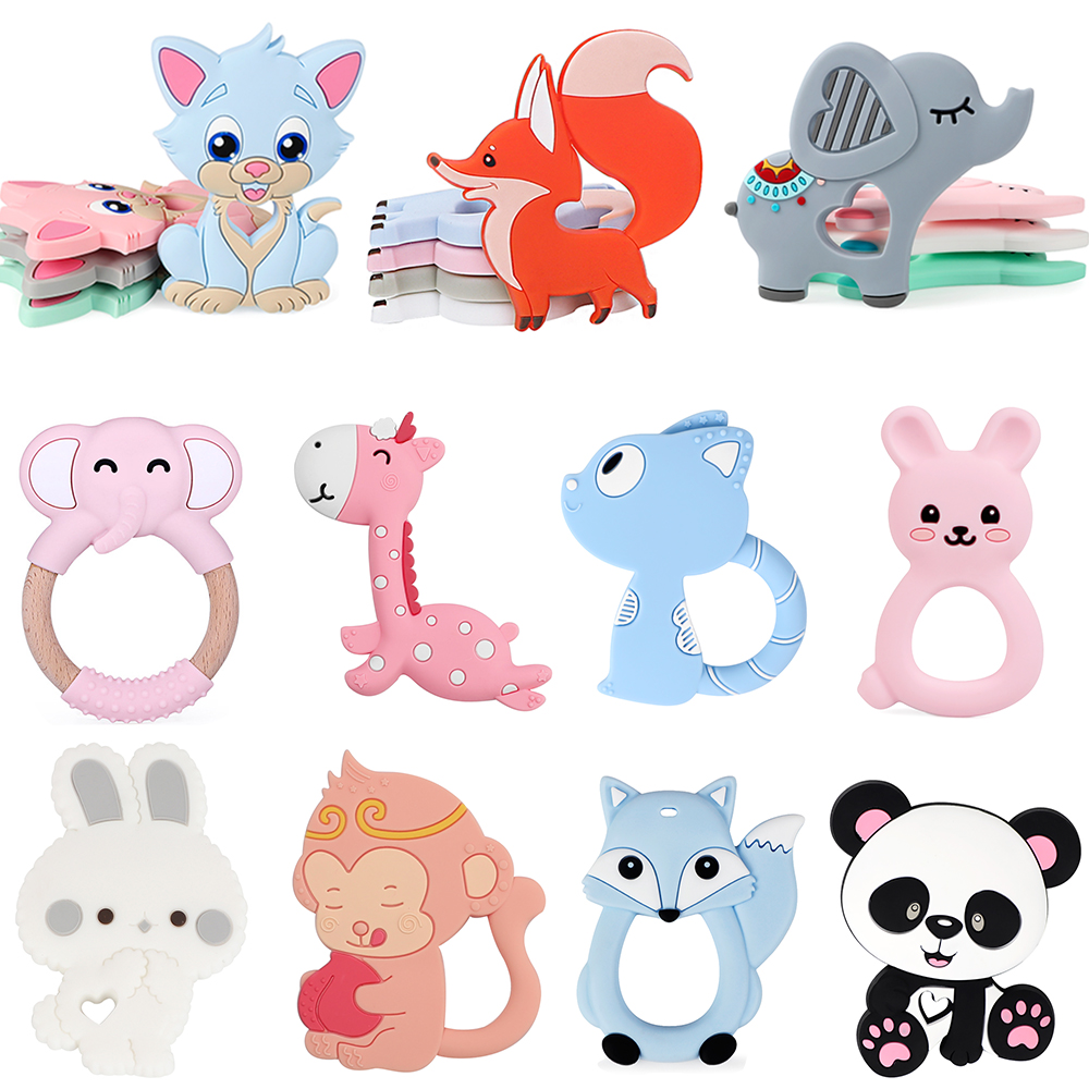 BPA Free Animal Silicone Teethers 1PC Baby Teething Necklace Toy Fox Panda Elephant Food Grade Silicone Cartoon Nursing Tiny Rod
