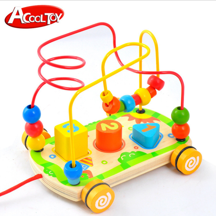 Micro Acool Wooden Plectrum Sound Making Drag Iron Wire Beaded Bracelet Bead-stringing Toy Children'S Educational Early Childhoo