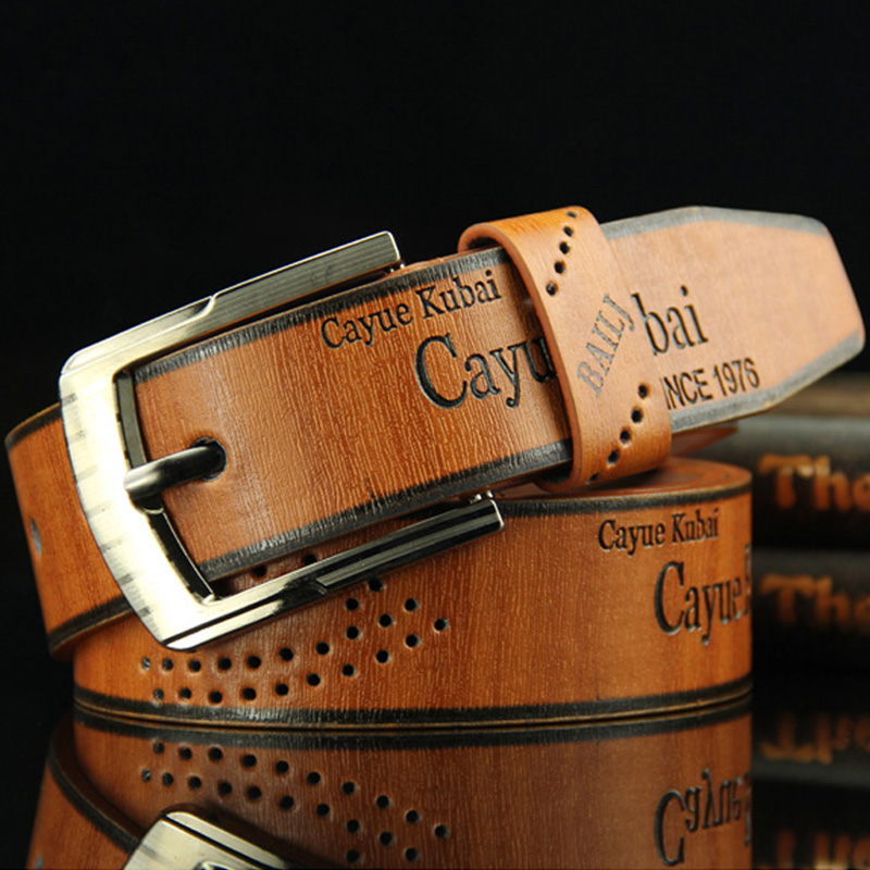High Quality Men's Casual Belt Durable PU Leather Hollow Belt Waistband Wide Belt For New Fashion Strap Male  Jeans Belt