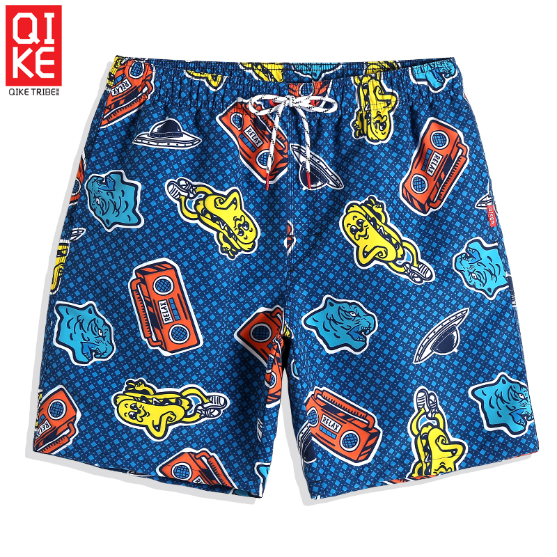 Summer Sexy Grid Bathing suit Swimsuit hawaiian bermudas joggers printed   Board     shorts   Quick dry surfing Briefs mesh