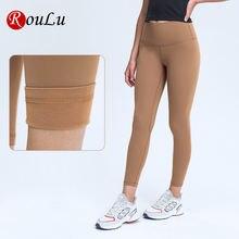Roulu зимние брюки для занятий йогой теплые флисовые тренировочные