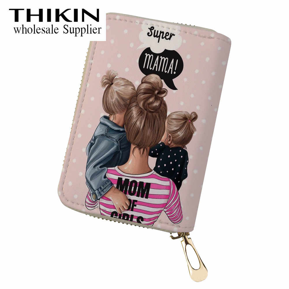THIKIN Super Mom Pattern Business Credit Card Holder for Women Bank Cards Protection Case ID Card Small Coin Wallets Waterproof