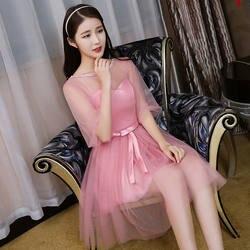 Розовые Простые платья для подружек невесты, вечерние платья для гостей на свадьбу, элегантные трапециевидные фатиновые платья для
