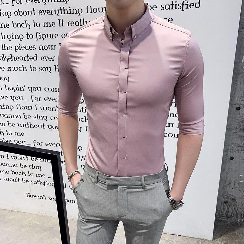 British Style Shirt Men Fashion 2020 Half Sleeve Mens Dress Shirts High Quality Slim Fit Business Formal Shirts Men Clothes 3XL