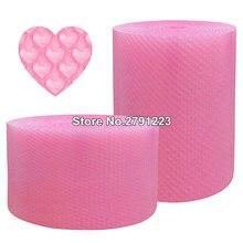 Mini rollo de burbujas de aire en forma de corazón para fiestas, rollo de espuma para regalos, decoración de boda, urdimbre, color rosa, 20cm x 5m