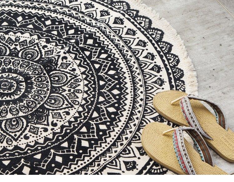 Tapis rond bohème nordique, tapis de sol pour salon chambre à coucher, paillasson antidérapant, Yoga, glands, coton 8
