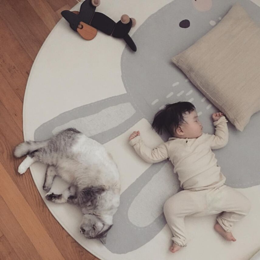 INS 120cm Baby Play Mat Cute Rabbit Round Plush Carpet Anti-proof Animal Playmat Newborn Infant Crawling blanket Kids Room Decor