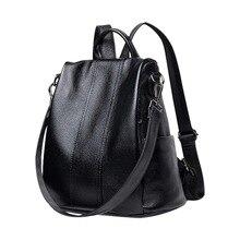 LOOZYKIT Retro Women Leather Backpack Casual College School Backbag Student Lapt