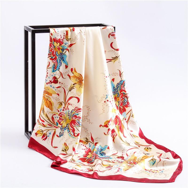 Elegant Silk Satin Neck Scarves For Women Fashion Floral Print Kerchief Hijab Scarf Female 90cm Square Shawls Scarfs For Ladies