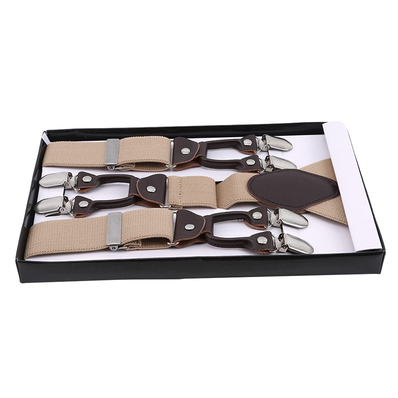 6 Clip Men's Suspenders Synthetic Leather Men Braces Supports Elastic Adjustable Pants Straps Clothing Tirantes