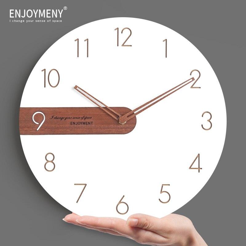 White Wooden Watch Large Wall Clock Modern Design Kitchen Brief Living Room Clock Circular Creative Wall Clocks Home Decor 001
