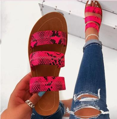 2020 new women slippers fashion wild snake double layer sandals flat bottom ladies beach shoes outdoor travel  flip flop 2
