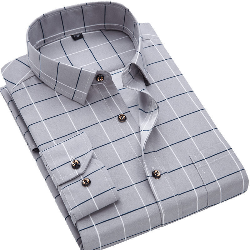 He45c83f71756487fa4e7d2de60e3e87co Men Shirt Long Sleeve Floral Printing Plaid Fashion Pocket Casual Shirts 100% Polyester Soft Comfortable Men Dress Shirt DS375