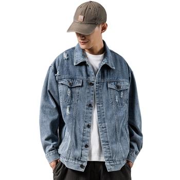 2020 Spring New Men's Denim Jacket Basic Sleeve Letter Print Denim Jacket Casual Mens Fashion College Japanese Streetwear M-5XL фото