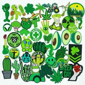 Зеленая серия, мультяшная вышивка, авокадо, растение, клевер, самодельные нашивки с утюгом, нашивка для одежды, аппликация, украшение, одежда