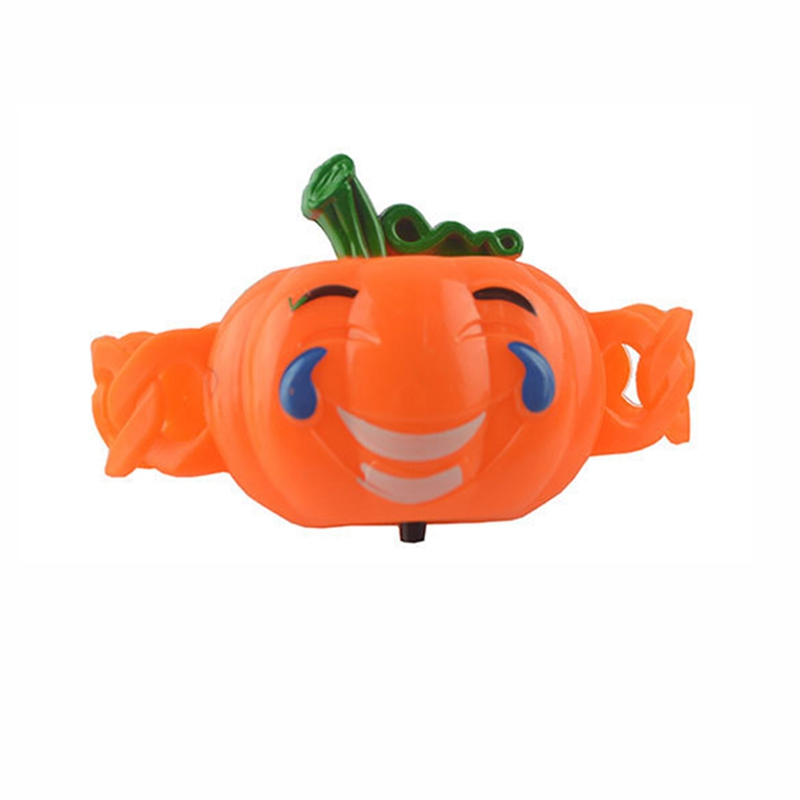 Shiny Pumpkin Bracelet Pat Ring Kids Luminous ToysCartoon Wristband Halloween Decor Funny