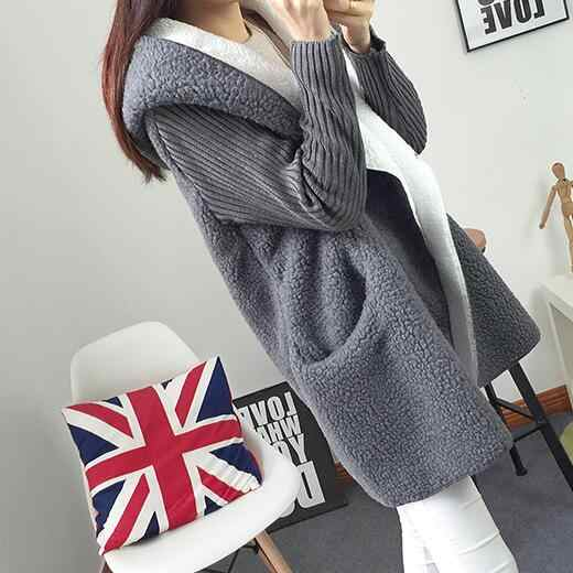 Autumn winter Blend New hooded coat Cardigan Sweater women's Solid color thick soft DC56
