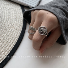 Elephant Smiley Goodluck Ring Female Index Finger S925 Sterling Silver Thai Silver Personality Retro Opening