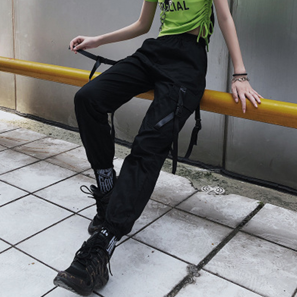 Women   Pants   Streetwear Cargo Casual Joggers Black High Waist Loose Female Trousers Korean Style Ladies   Pants     Capri