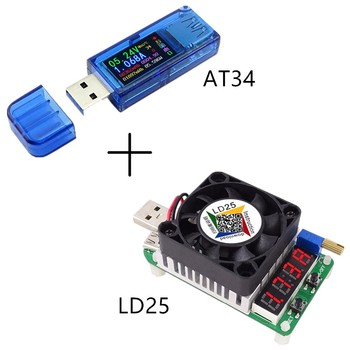 AT34 USB 3.0 Color Screen Tester Voltage Current Capacity Energy Power Equivalent Impedance Temperature Tester 30%off