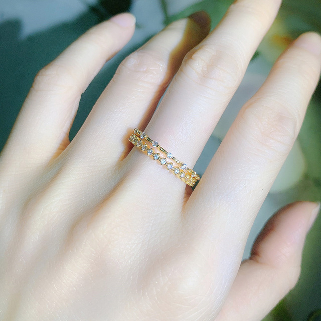Tiny Small Ring Set For Women Gold Color Cubic Zirconia Midi Finger Rings Wedding Anniversary Jewelry Accessories Gifts KAR229 5
