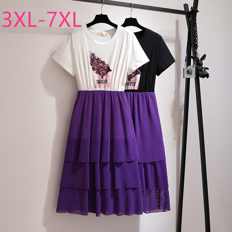 2020 Summer Plus Size Long Dress For Women Large Loose Casual Short Sleeve Elegant Pleated O Neck Dresses Purple 4XL 5XL 6XL 7XL