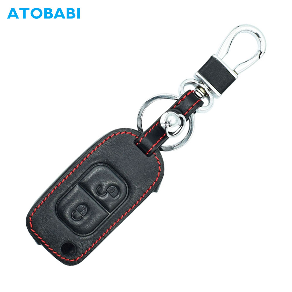 ATOBABI Leather Car Key Cover For Mercedes Benz E113 A C E S W168 W202 W203 2 Buttons Folding Remote Fob Case Protector Keys Bag image