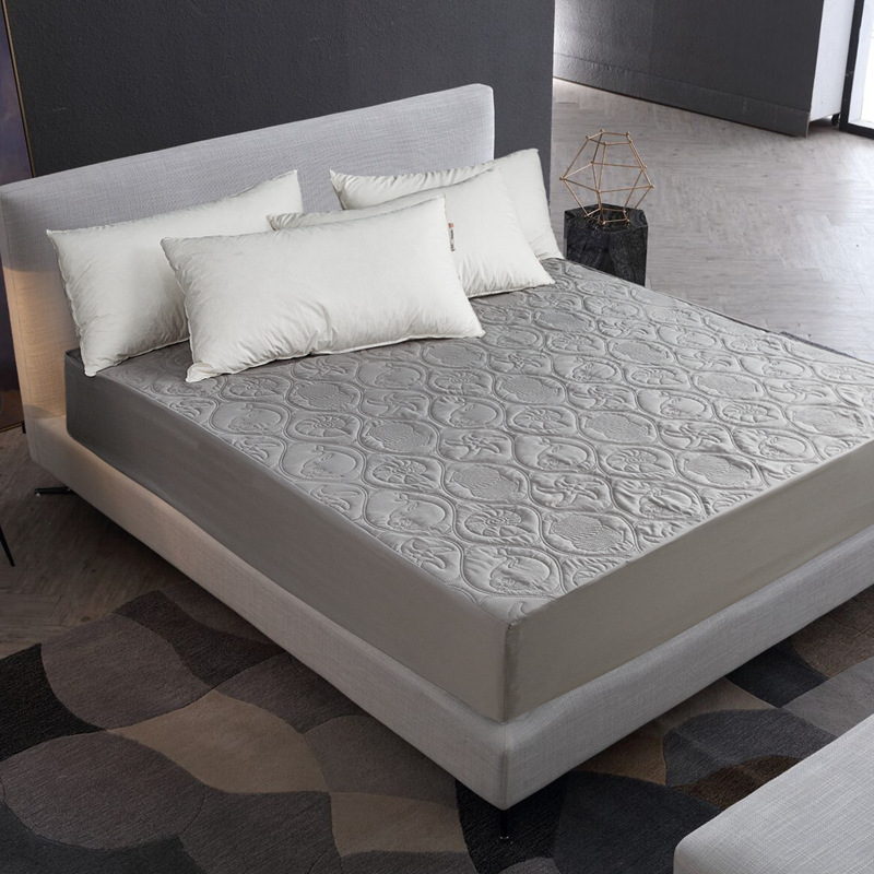 Solid Color Quilted Embossed Waterproof Protector Mattress Fitted Bed Cover for Mattress Thick Soft Pad Hypoallergenic Bed Cover image