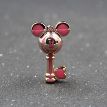 10PCS Cartoon Mickey Head Keychain DIY Color Acrylic Pearl Backpack Pendant Necklace Jewelry Accessories 40mm