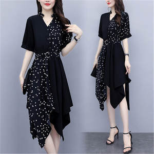 Chiffon Dress Temperament Slim Regular V-Neck Irregular-Wave-Point-Stitching Large Size-L-5xl