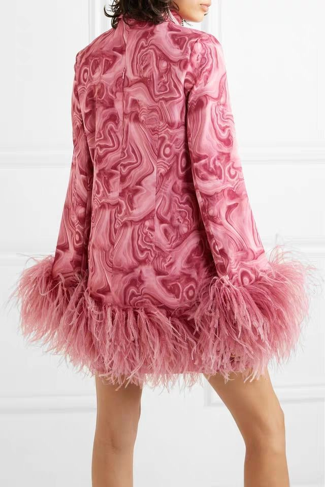 Brand Dress Women 2019 Autumn/winter Fashion Lapel Printed Ostrich Fur Poncho Dress Party Dress Vestido De Festa