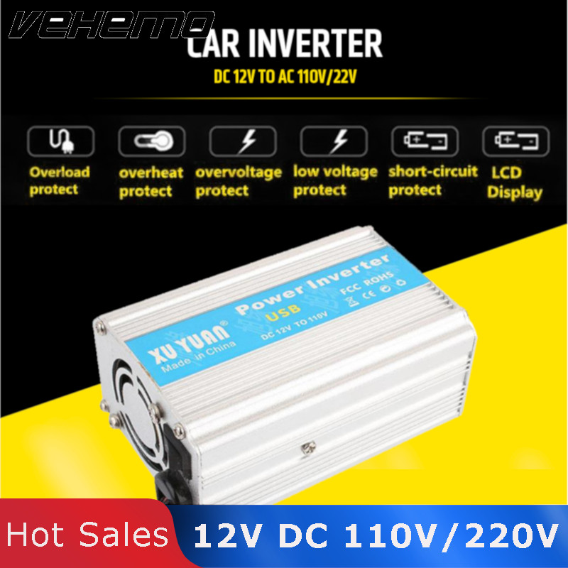 Vehemo Inverter 12V DC To 110V/220V AC Converter Car Inversor 12v 220v Sopure Sine Wave Portable Vehicle Power Supply Adapter