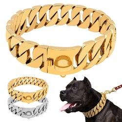 Прочные металлические цепи для собак, ошейники из нержавеющей стали, ошейник для тренировок для крупных собак, Питбуль бульдог, серебро, зол...