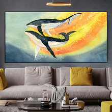 Nordic Watercolor Modern Abstract Animal Print Colorful Fish Oil Painting Wall Pictures for Living Room Cuadros Home Decoration