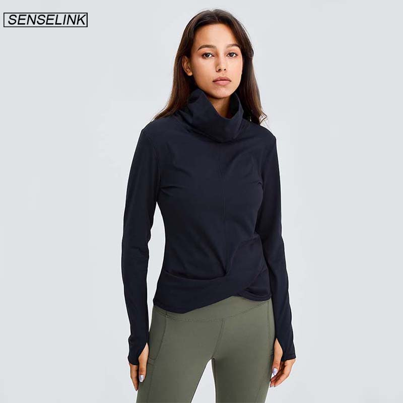 Permalink to SENSELINK Women's High Collar Long Sleeve Fitness Sports Casual Blouse