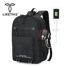 LIKETHIS Men Backpack Travel Bag Schoolbags Waterproof New School Fashion Bags External USB Charge Laptop Rucksack Mochila Black