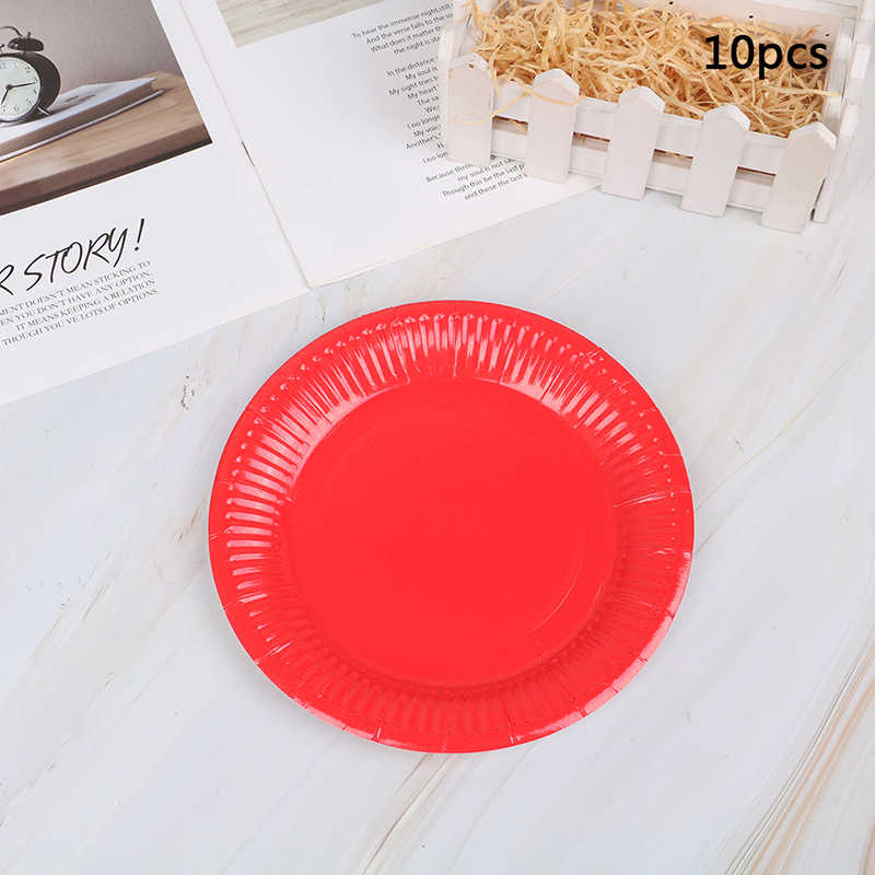 10 Stks/partij Multi-gekleurde Schijf Wegwerp Borden Cake Papier Pan Diy Decoratie Voor Kids Birthday Party Wedding Servies Supply